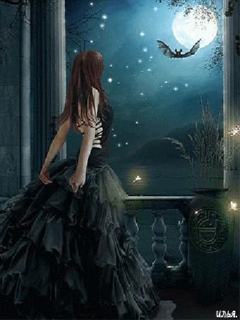 Анимация Девушка в черном платье стоит на балконе и смотрит на звездное небо, луну и летучую мышь летящую в небе