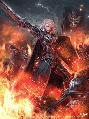 Анимация Воин с щитом на плече на огненном поле битвы, где сражаются другие воины поднял свой меч вверх. Игра Legend Of Monsters