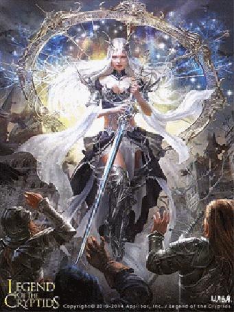 Анимация Парящая в воздухе в ярком свете воительница с мечом в руке, предстает перед другими воинами. Игра The Legend Of The Cryptids