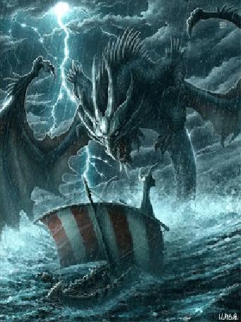 Анимация Дракон, поднявшийся на поверхность из морских глубин, встречает плывущий в сильный шторм драккар
