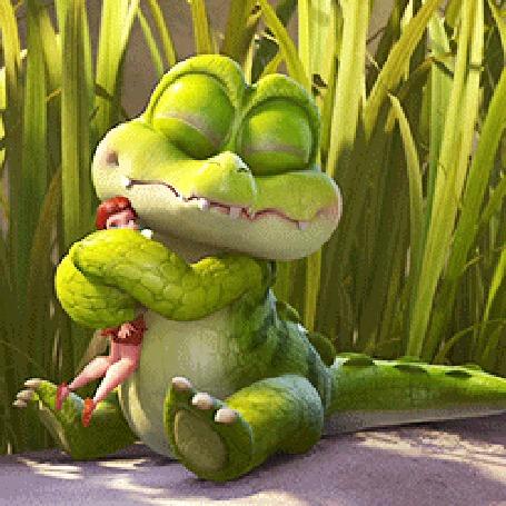 Анимация Крокодил обнимает феечку