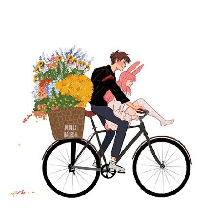 Анимация Парень едет на велосипеде с девушкой на руле и большой корзиной с цветами на багажнике