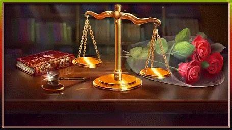 Анимация На столе лежит букет роз, книга, судейский молоток и стоят весы Фемиды (С Днем юриста!)