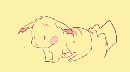 Анимация Мокрый Пикачу / Pikachu из аниме Покемон / Pokemon отряхивается
