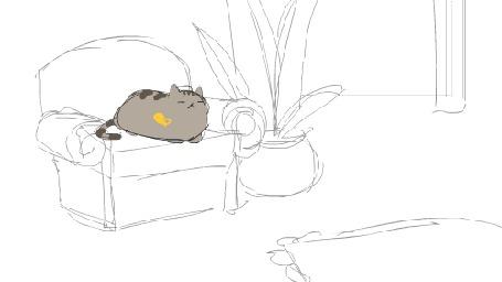 Анимация Пухлая серая кошка ловит желтую бабочку