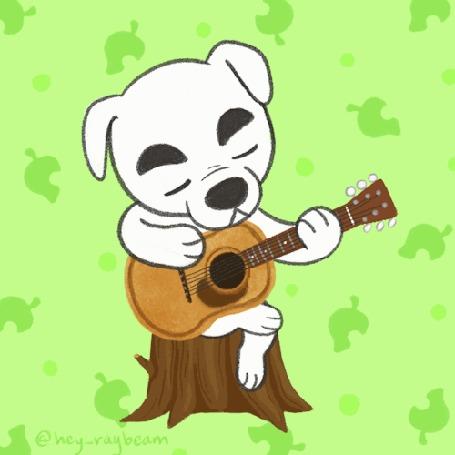 Анимация Белый пес сидит на пеньке и играет на гитаре