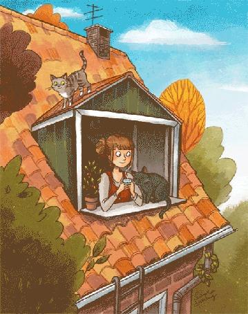 Анимация Девушка и кошки в мансарде смотрят на падающие листья, by Carola Sieverding