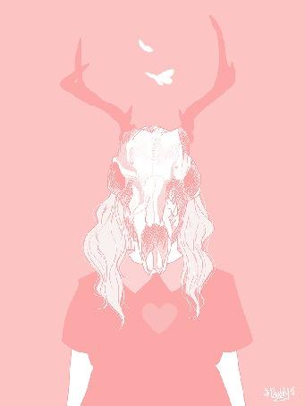 Анимация Девушка с черепом оленя вместо головы, над которой порхают бабочки, в пастельных розовых тонах