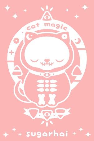 Анимация Кот-скелет на фоне магического круга (cat magic sugarhai)
