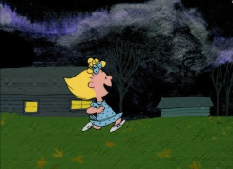 Анимация Девочка бежит к мальчику через тыквенную грядку, мульфильм Its the Great Pumpkin, Charlie Brown / Это Большая тыква, Чарли Браун