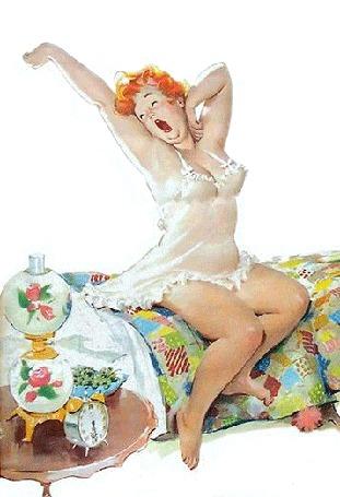 Анимация Толстушка Хильда проснулась и сладко потягивается, сидя на кровати, художник Дуэйн Брайерс / Duane Bryers