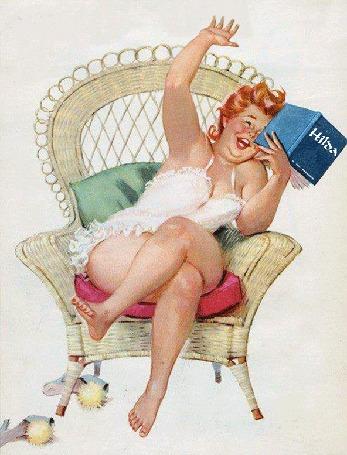 Анимация Толстушка Хильда сидит в кресле и смеется, читая книжку про себя, художник Дуэйн Брайерс / Duane Bryers