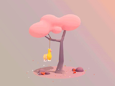 Анимация Игрушка висит на дереве