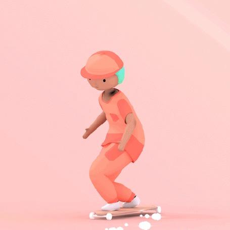 Анимация Девушка на скейтборде