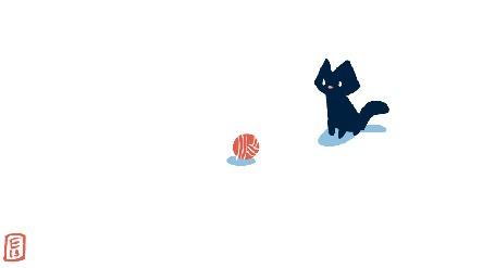 Анимация Черный котенок играет с клубком