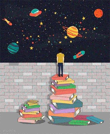 Анимация Парень стоит на стопке книг, смотря на картину с космосом