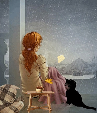 Анимация Девушка смотрит на осенний дождь, рядом с ней сидит черный котенок