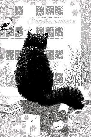 Анимация Кошка сидит под падающим снегом, (с первым снегом)