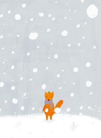 Анимация Лиса в шарфе стоит под падающим снегом