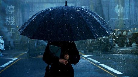 Анимация Девушка с зонтом под дождем