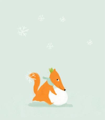 Анимация Лиса лепит снежный ком