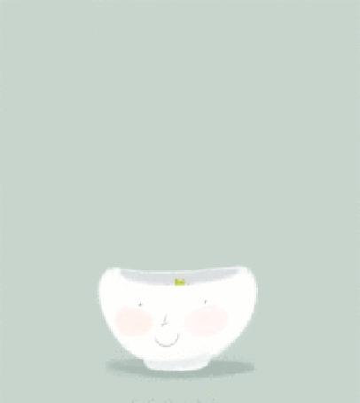 Анимация Лисенок встает из чаши, поднимает вверх лапы и появляется надпись happy Birthday / с днем рождения