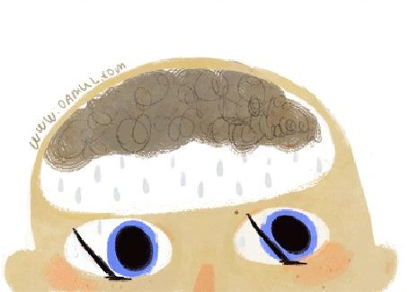 Анимация Над глазами с дворниками мальчика тучка с дождем