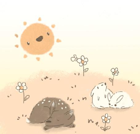 Анимация Два кролика и олененок дремлют на полянке с ромашками под солнышком