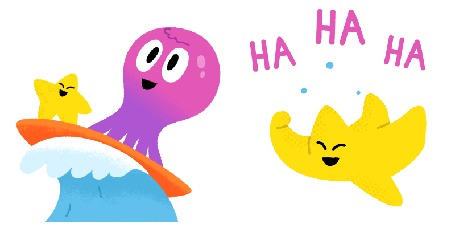 Анимация Морская звезда и розовый осьминожек катаются на доске, а другая морская звезда смеется