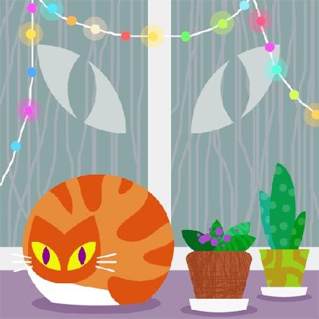Анимация Моргающий рыжий кот сидит рядом с цветочными горшками у окна с мигающей гирляндой из разноцветных фонариков, за которым идет дождь и моргают глаза