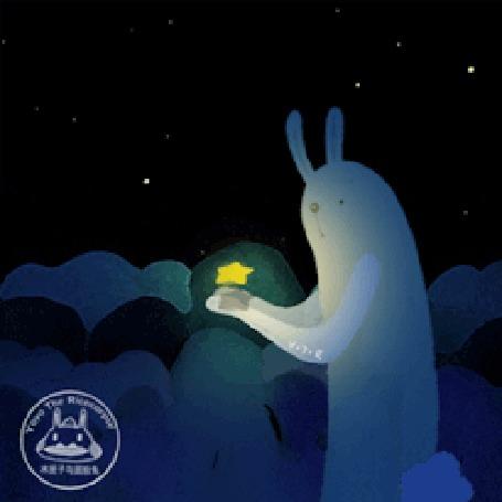 Анимация Светящийся зайчик держит в руках желтый цветок, by Yoyo the Ricecorpse