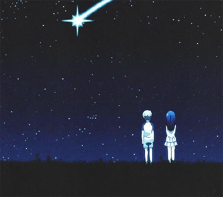 Анимация Дети смотрят на падающие звезды и загадывают желания