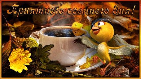 Анимация Возле чашки горячего кофе среди осенних листьев лежит желтый цветок хризантемы и прыгает радостная канарейка (Приятного осеннего дня!)