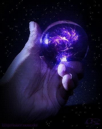 Анимация Магический шар в руке человека на фоне звездного неба