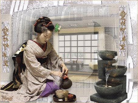 Анимация Гейша проводит чайную церемонию