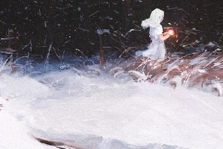 Анимация Девушка стоит под падающим снегом, by Sylar113