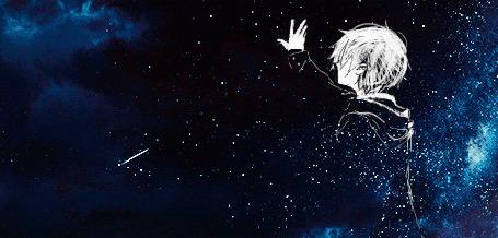 Анимация Маленький принц на фоне звездного неба и пролетающих комет