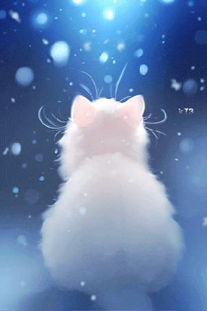 Анимация Белая кошечка под падающим снегом, by apofiss
