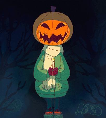 Анимация Ребенок, наряженный на Хэллоуин / Halloween, со свечей в руках, выглядывает из-под тыквы на голове, by leenalecklin
