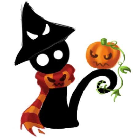 Анимация Черный кот в шляпе и шарфе со светильником Джека на хвосте, Halloween / Хэллоуин, by psyAlera