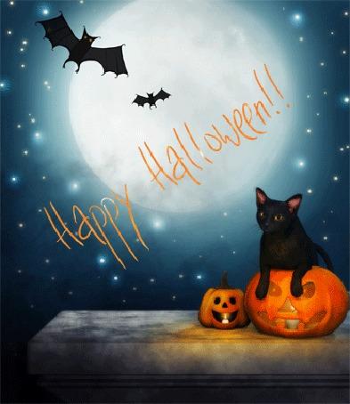 Анимация Черная кошка сидит в светильнике Джека на фоне звездного неба с летучими мышами и полной луны (Happy Halloween / Счастливого Хэллоуина)