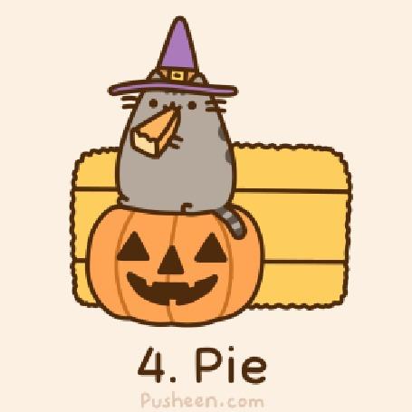 Анимация Pushin the Cat / Кот Пушин в шляпе ведьмы сидит на праздничной тыкве и кушает пирог (4. Pie)