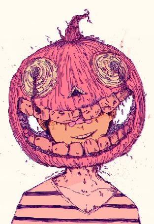 Анимация Ухмыляющийся парень со светильником Джека на голове, by Omocat