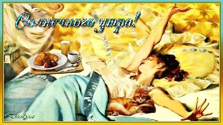 Анимация В постели лежит девушка, на нее попадают солнечные лучи. Рядом лежит кот и стоит завтрак. (Солнечного утра!)