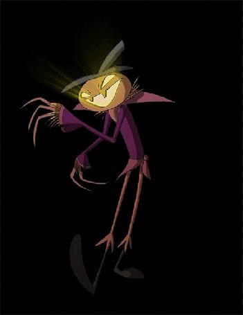 Анимация Танцующее чучело с тыквой вместо головы на черном фоне