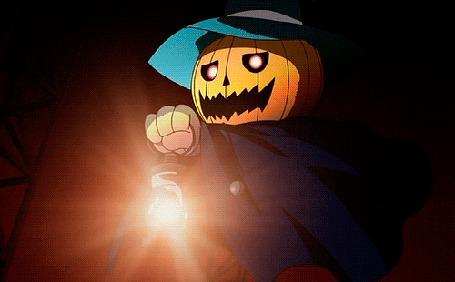 Анимация Человек с тыквой на голове держит в руке фонарь