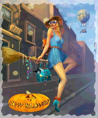 Анимация Девушка летит на метле с котом в сумке на фоне городского пейзажа
