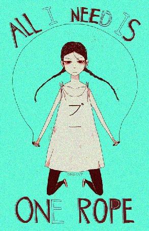 Анимация Грустная девочка прыгает со скакалкой (All i need is one rope / Все, что ме нужно - это одна веревка), by Omocat