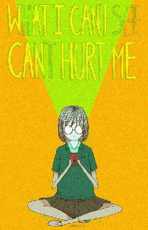 Анимация Девочка в круглых очках сидя скрестив ноги светит фонарем себе на лицо (What i cant see cant hurt me / То, что я не могу видеть, не может причинить мне вреда), by Omocat
