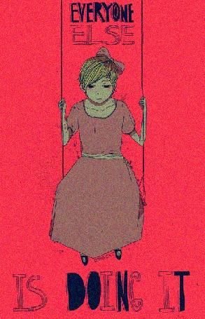 Анимация Грустная девочка сидит на качелях (Everyone else is doing it / Все остальные делают это), by Omocat
